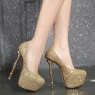 特惠 夏新款超高跟20cm細跟22cm魚嘴單鞋性感夜店女鞋大碼43恨天高16cm