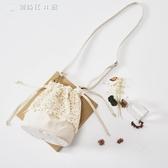 清新夏天森林蕾絲包女生文藝小包可愛水桶包單肩斜背包 【創時代3c館】