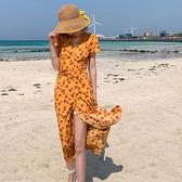女神度假洋裝~夏日沙灘渡假復古茶歇裙高腰系帶V領開衩短袖碎花連身裙PF460-A快時尚