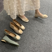 復古奶奶鞋粗跟單鞋女低跟豆豆鞋2019春款OL方頭圓頭韓版淺口瓢鞋 米娜小鋪