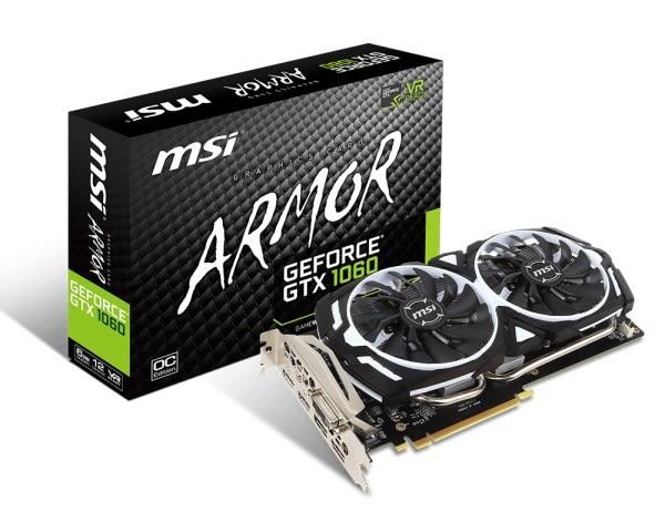 微星GeForce GTX 1060 ARMOR 3G OCV1 PCI-E顯示卡
