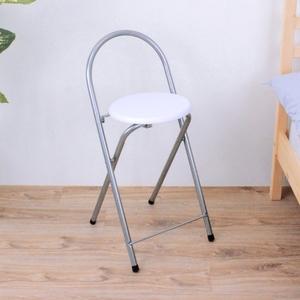 【頂堅】鋼管(木製椅座)折疊椅/吧台椅/高腳椅/摺疊椅/折合椅-二色素雅白色