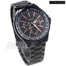 STRAND BY OBAKU 強烈視覺效果 賽車錶 三眼多功能錶 IP黑電鍍 不銹鋼 男錶 S708GMBBSB