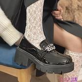小皮鞋女英倫風春季新款百搭厚底一腳蹬樂福鞋顯高單鞋豆豆鞋【公主日記】