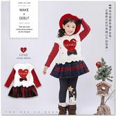 韓版愛心毛絨背心假兩件洋裝 內刷毛 假2件 毛呢 格紋 過年 紅色 保暖 連身洋裝 女童 英倫風