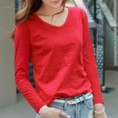 竹節棉長袖T恤 長袖t恤女紅色春季韓版V領竹節棉寬鬆素色百搭體恤女純棉 麗人印象 免運