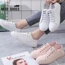 [Here Shoes] 3CM 兩穿後跟可踩 皮革厚底圓頭休閒鞋 後踩鞋 穆勒鞋 懶人鞋 小白鞋─KSGY006