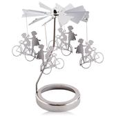 歐沛媞 旋轉燭罩蠟燭台-銀-男孩和女孩 加贈YANKEE CANDLE 香氛蠟燭49g