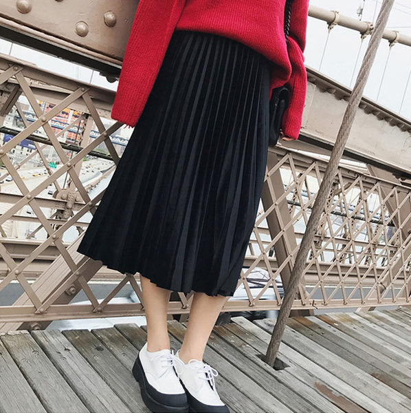 過膝百摺裙 優雅復古百摺絨面長裙 艾爾莎【TAE4617】