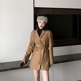 西裝外套-翻領繫帶顯瘦復古女休閒西服73xj32[巴黎精品]