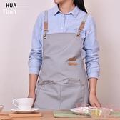 帆布圍裙餐廳咖啡師奶茶花藝美甲畫畫時尚工作服【聚可愛】