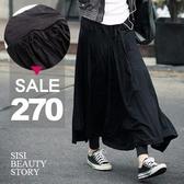 SISI【P5036】波西米亞風垂感百褶裙莫代爾棉質傘狀大襬拖地長裙半身裙