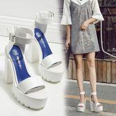 酒吧歐美風女歌手鞋粗跟馬丁短靴松糕厚底演出白色超高跟ds舞臺鞋