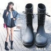 春秋新款時尚小馬靴套鞋輕便防滑水雨靴中筒水鞋膠鞋潮成人雨鞋女『潮流世家』