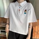 短袖POLO衫 polo衫短袖t恤女設計感小眾寬鬆韓版潮ins原宿風bf半袖短款上衣服