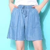 天絲褲 冰絲五分褲女寬鬆休閒2020年新款夏季熱褲闊腿天絲牛仔短褲女薄款