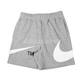 Nike 短褲 Sportswear Swoosh 男款 棉褲 灰 白 鬆緊 刷毛大勾勾 【ACS】 DD5998-063