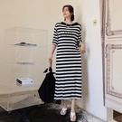 洋裝 條紋裙 休閒 L-3XL新款/大碼長款拼色一字領條紋短袖連身裙S109-6560.胖胖唯依