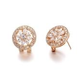 耳環 玫瑰金 925純銀鑲鑽-璀璨艷麗生日情人節禮物女飾品2色73gs238【時尚巴黎】
