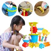 兒童軟膠沙灘桶 海邊戲水套裝寶寶浴室戶外噴水玩具11件套-JoyBaby