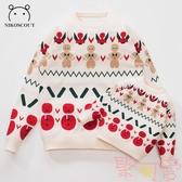 親子款毛衣新年兄妹裝母女冬季母子套頭針織衫【聚可愛】