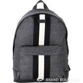 BALLY HINGIS 經典條紋織帶尼龍後背包(黑灰色) 1640216-01