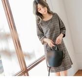 《DA5988-》質感韓系女孩格紋五分袖洋裝 OB嚴選