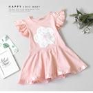 純棉 氣質花朵珍珠緞帶滾邊洋裝 春夏童裝...