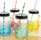 梅森杯創意漸變彩色梅森杯帶蓋透明公雞杯夏...