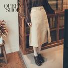 Queen Shop【03030244】附釦環腰帶開衩中裙 兩色售 S/M/L*現+預*