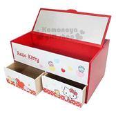 〔小禮堂〕Hello Kitty 木製橫式掀鏡兩抽收納盒《紅白.小熊》化妝鏡盒.抽屜盒 4713052-38557