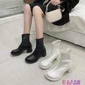 IG高跟后拉鏈瘦瘦靴新款粗跟百搭馬丁靴女英倫風短靴單靴潮超級品牌【公主日記】