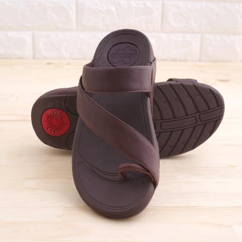 真皮男涼鞋 咖 平底休閒 真皮涼鞋 海灘鞋 拖鞋 韓國 韓系《生活美學》