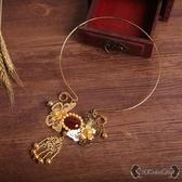 瓔珞項圈 古典漢服秀禾項鍊古裝傳統結婚新娘配飾cos金色飾品 - 雙十一熱銷