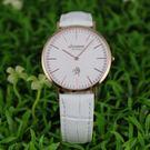 【萬年鐘錶】 LICORNE entree  簡約超薄真皮女錶  玫瑰金x白  LT056LRWW-R
