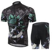自行車衣-(短袖套裝)-酷炫骷髏士兵吸濕排汗男單車服套裝73er1[時尚巴黎]