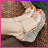 楔型鞋 坡跟涼鞋女粗跟正韓新款夏季新款性感百搭仙女風鬆糕厚底中高跟鞋 任選一件享八折