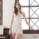 【性感寶盒】★大尺碼Annabery白緹花柔紗綁脖二件式睡衣★白┌NY14020027