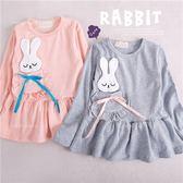 荷葉邊口袋瞇眼兔棉質上衣小洋裝(260128)★水娃娃時尚童裝★