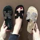 平底拖鞋 韓版2021夏季新款時尚外穿拖鞋女水鉆港風平底一字拖沙灘涼拖女 薇薇