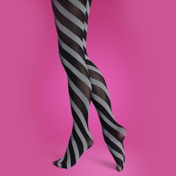 『摩達客』瑞典進口【Happy Socks】快樂禮盒褲襪二入A組 (紫色圓點、黑灰斜紋彈性褲襪)