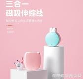 磁吸充電線-簡約 磁吸伸縮三合一手機iphone蘋果x安卓oppo華為VIVO小米ipad通用 糖糖日繫