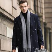 圍巾男士秋冬季保暖純色仿羊絨圍脖冬天商務長款簡約韓版百搭圍巾 奇思妙想屋
