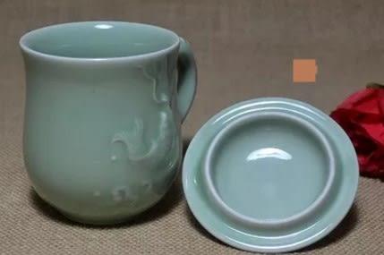 [協貿國際]  青瓷茶道鯉魚杯茶杯茶具 (1入)