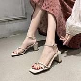 涼鞋夏季新款百搭一字帶粗跟懶人半拖鞋外穿時尚拖鞋女高跟涼拖鞋