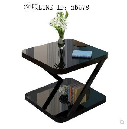 小茶几簡約現代迷你方形客廳沙發邊幾簡易組裝小戶型創意角幾茶几 Z形40*40白架+黑玻璃大圓角
