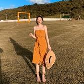 抹胸洋裝 復古氣質抹胸波點連身裙女顯瘦高腰魚尾包臀裙度假沙灘裙 麗人印象 免運
