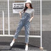 夏季韓版新款背帶褲女時尚百搭寬鬆口袋高腰顯瘦牛仔連體長褲學生