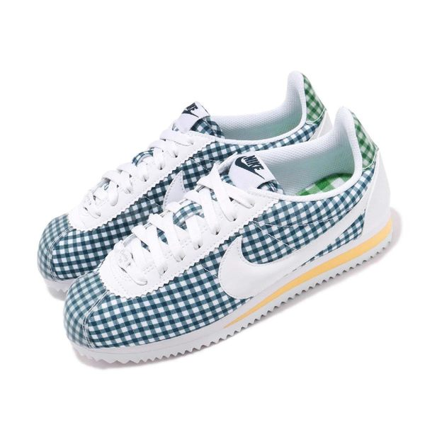 Nike 阿甘鞋 Wmns Classic Cortez QS 藍 白 格紋 復古慢跑鞋 女鞋 運動鞋【PUMP306】 BV4890-101