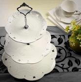 陶瓷水果盤歐式三層點心盤蛋糕盤多層糕點盤客廳創意糖果托盤架子 茱莉亞